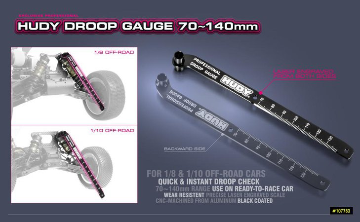 Main Photo: New HUDY 70-140mm Off-Road Droop Gauge