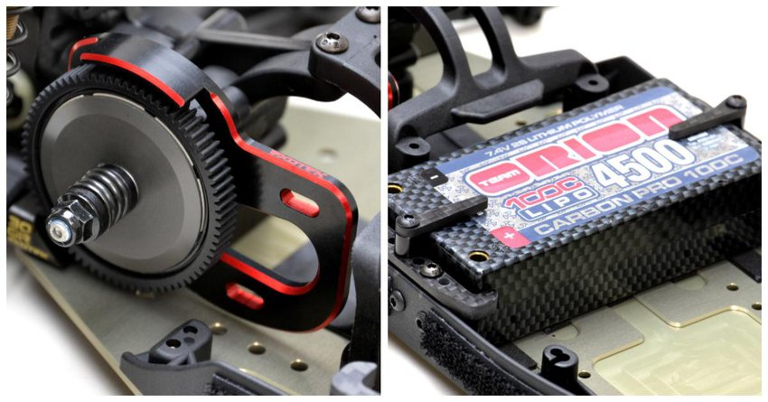 Main Photo: New Exotek Racing RB7 Laydown Motor Plate and LiPo Cup Mounting System