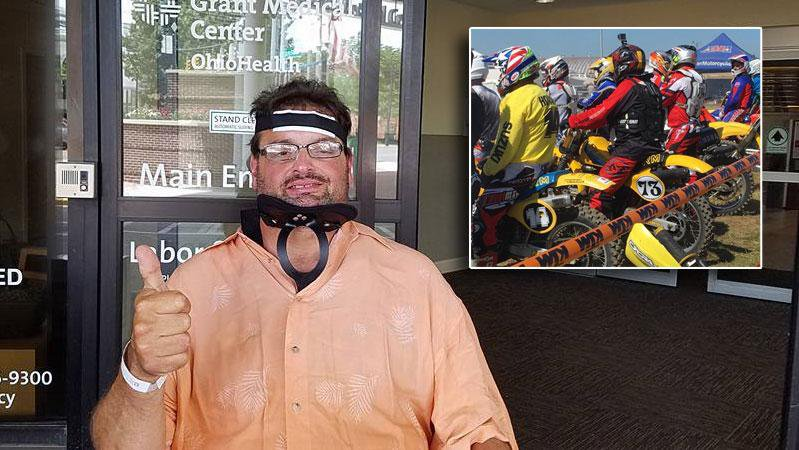 Main Photo: CRC founder Frank Calandra recovering from broken neck suffered in motocross crash