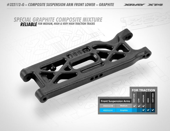 Main Photo: New Xray XT4 Graphite Lower Suspension Arm