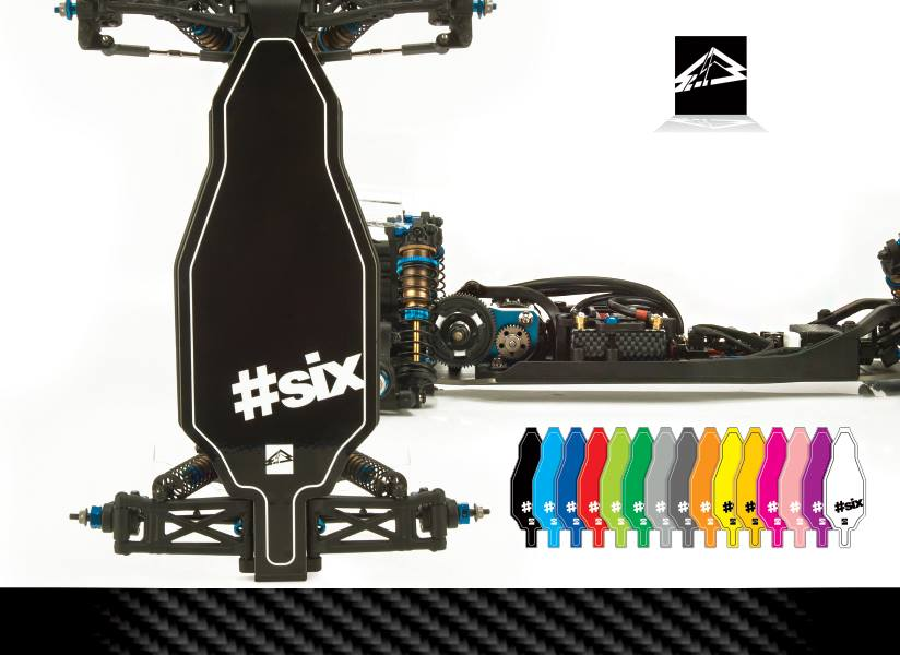 Upgrade RC's limited-edition Hashtag 6 B6 chassis protectors and