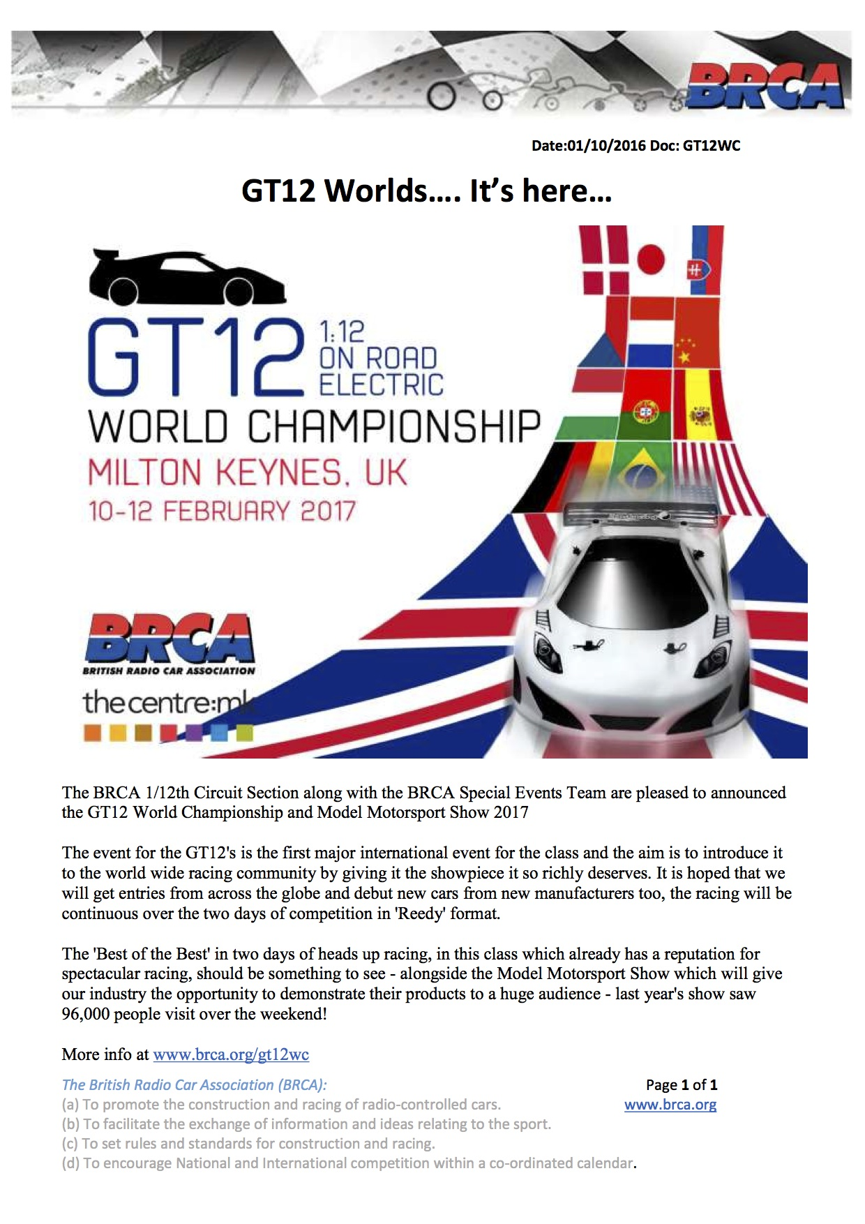 Inaugural BRCA GT12 World Cup scheduled for February :: LiveRC com