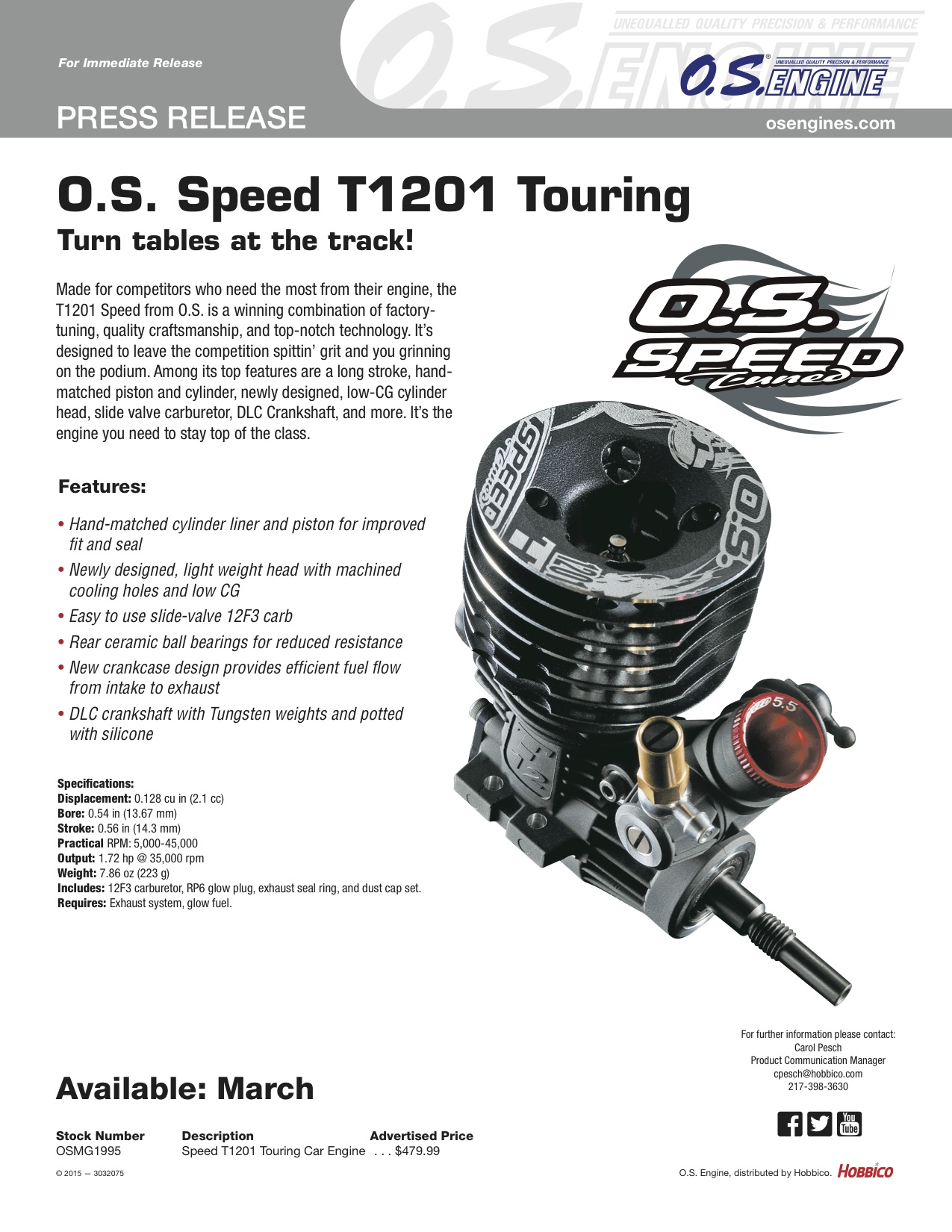 New O.S. Speed nitro touring car engine coming in March :: LiveRC ...